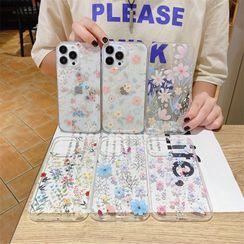 Surono - Floral Print Transparent Phone Case - iPhone 13 Pro Max / 13 Pro / 13 / 13 mini / 12 Pro Max / 12 Pro / 12 / 12 mini / 11 Pro Max / 11 Pro / 11 / SE / XS Max / XS / XR / X / SE 2 / 8 / 8 Plus / 7 / 7 Plus