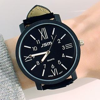 Maesi - Roman Numeral Round Faux-Leather Strap Watch