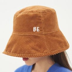 Hatfever - Lettering Embroidered Corduroy Bucket Hat