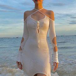 MOONGATE - Long-Sleeve Cutout Cold-Shoulder Mini Dress