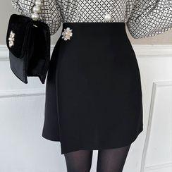 MyFiona - Faux-Pearl Detail Wrap Miniskirt