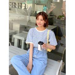 J-ANN - Daisy-Pattern Ringer T-Shirt