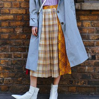 ViKolor - Dotted Plaid Panel Midi A-Line Skirt
