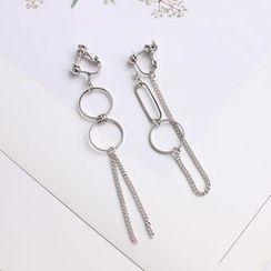 Joodii - Asymmetrical Hoop & Chain Drop Earring