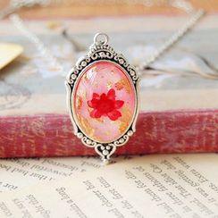 Nisen - Gold Leaf Dried Flower Pendant Necklace