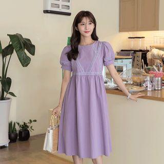 CLICK - Puff-Sleeve Crochet-Trim Babydoll Dress