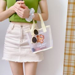Tuhat - Cartoon Applique Mesh Tote Bag