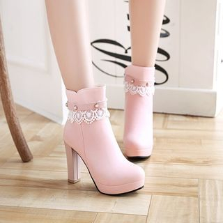 Megan - Lace Trim High-Heel Short Boots