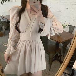IKIO - Long-Sleeve V-Neck Mini A-Line Dress