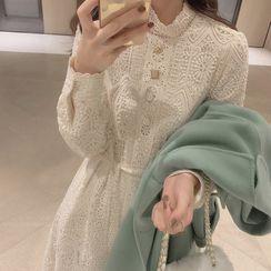 Areumdaun - Long-Sleeve Lace A-Line Dress