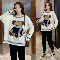 Mamaladies - Maternity Bear Print Sweater / Jogger Pants