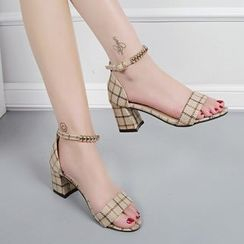 Raylove - Ankle Strap Lattice Chunky Heel Sandals