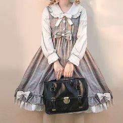Tomoyo - Long-Sleeve Plaid Midi A-Line Dress / Head Piece / Set
