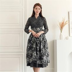 CHICLINE - Floral Print Wrap Skirt