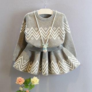 ZiG ZaG - Kids Set: Printed Sweater + Mini A-Line Skirt