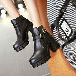 Shoes Galore(シューズガロア) - Belted Chunky Heel Platform Short Boots