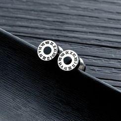 腾翼 - 不锈钢罗马数字穿线耳环