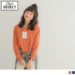 OrangeBear - 俏皮圖案印製素色簡約長袖上衣