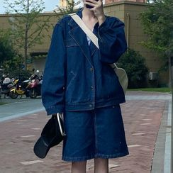 LINSI - Denim Jacket / Midi A-Line Skirt