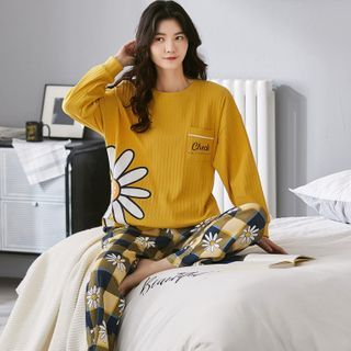 Lion Sniff - Print Long-Sleeve Loungewear Set