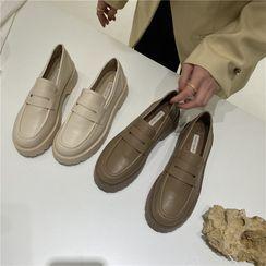 POPOW - Faux Leather Platform Loafers