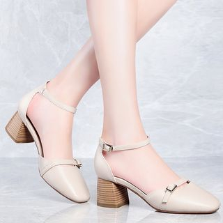 Moolecole - Faux-Leather Chunky-Heel Sandals