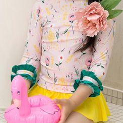 Roseate - Kids Set: Long-Sleeve Top + Swim Skirt + Swim Cap