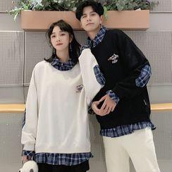Azure - Couple Matching Mock Two-Piece Plaid Sweatshirt