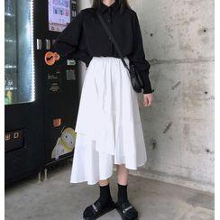 CaraMelody - Long-Sleeve Plain Shirt / Midi Skirt
