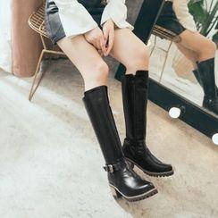 Cinnabelle - 仿皮粗跟中筒靴