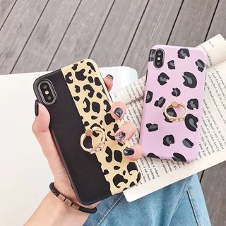 Cellfie - Leopard Print Ring Stand Mobile Case - iPhone XS Max / XS / XR / X / 8 / 8 Plus / 7 / 7 Plus / 6s / 6s Plus