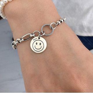Fireflicka - 925 Sterling Silver Smiley Face Bracelet