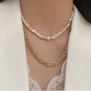 Foreflow - Freshwater Pearl Alloy Layered Necklace