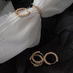 Covette - Rhinestone Accent Hoop Earrings