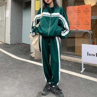 Modern People - Striped Zip Jacket / Sweatpants