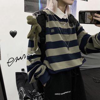 Porstina - Smiley Face Applique Striped Polo Shirt