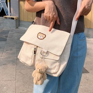 Shinshine - Teddy Bear Embroidered Crossbody Bag / Bear Charm