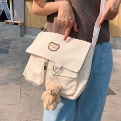 Shinshine - Teddy Bear Embroidered Crossbody Bag / Bear Charm