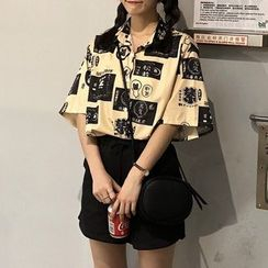 Moon City - Printed Short-Sleeve Printed Shirt / Drawstring Shorts