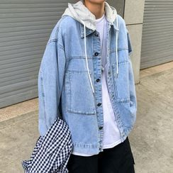 Newise - Hooded Washed Denim Jacket