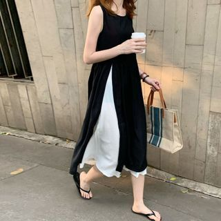 Ashlee - Sleeveless Color Panel Chiffon Dress