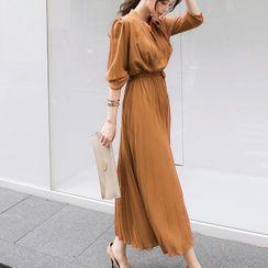 malabar - Long-Sleeve Pleated Midi A-Line Chiffon Dress