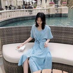 MOFFI - Short-Sleeve  Dotted Midi A-Line Dress