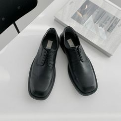 Seoul Homme - Square-Toe Lace-Up Loafers