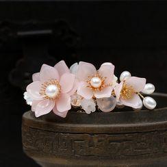 Kanzashi - 复古仿珍珠花朵发夹
