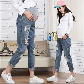 Hiccup - Maternity High Waist Distressed Straight-Cut Jeans