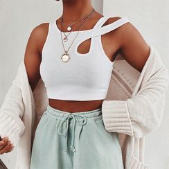 Dictynna - Asymmetric Cutout Cropped Tank Top