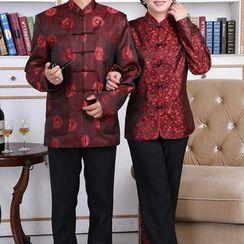 Golden Flowers - Couple Matching Printed Long-Sleeve Hanfu Top
