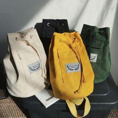 SUNMAN - Label Applique Drawstring Canvas Sling Bag