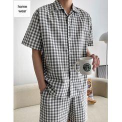 JOGUNSHOP - Gingham Pajama Shirt